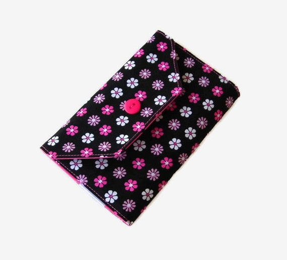 Black and Pink Needle Wallet - Needle Organizer - Sewing Accessory - Needle Holder Case