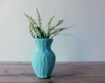 Mint Green vase / small Green Vase / stained concrete and glass vase