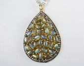 HUGE Labradorite Necklace, Large Labradorite Pendant, Many Labradorite Gems with Blue, Green, Aqua, and Gold Flash, Gold and Sterling Silver