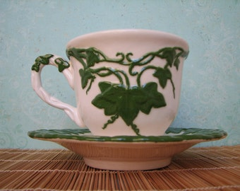 Green Ivy Cup and Saucer - Vines - Vintage - Coffee Cup - Dishes - Hot Cocoa - Housewares - Garden - Repurpose - Birdseed Holder - Gift