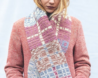 SALE /// Tapestry Crochet Scarf -- Dusty Rose Plaid
