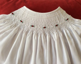White baby dress hand smocked with flowers - bishop style dress - multiple sizes available