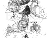 Black Birds Art Print, contemporary wall art, black ink drawing, black floral graphics, illustrations prints new for home trending art