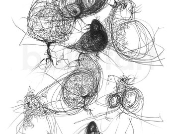Black Birds Art Print, black ink drawing, graphics, illustrations prints new for home bird wall art trending art, wall art, interior design