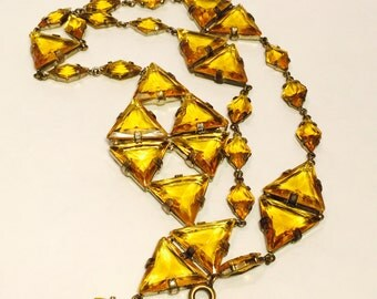 Art Deco Czech Goldtopaz Open Back Vintage Necklace Art Deco Jewelry