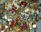 Rhinestone Gold Tone Lot of Pendants, Charms, Buttons, and other Pieces for Repurposing