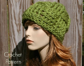Crochet Hat Pattern Beanie Basketweave Pattern