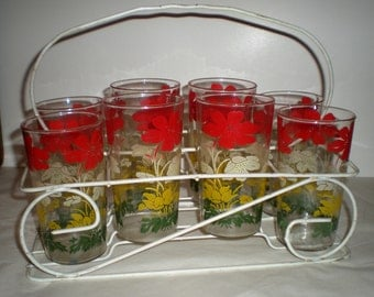 Rack with Glasses 1950's Vintage - Set of 8 with Rack