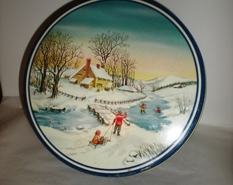 Gift Tin - Vintage Older Christmas Gift, Cookie, Candy Tin
