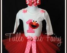 Baby's First 1st birthday Elmo theme long  sleeve or short Onesie bodysuit  tutu dress 12 months 18 months
