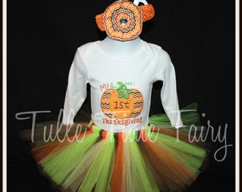 6-12 months ready Baby's First Thanksgiving pumpkin embroidered body suit onesie tutu dress outfit with bow size 6-12 months ready to ship