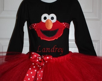 Embroidered Elmo Long Sleeved top with tutu birthday dress  12m 18m 24m 3t 4t 5t