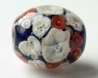 Lampwork Focal Bead, Handmade Floral Lampwork Bead, Blue with Cream & Coral Flowers