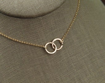 Small gold filled hammered circle links and gold filled necklace, hammered rings, gold linked circles, entwined rings, connected