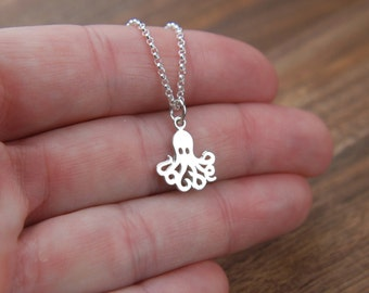 Octopus charm necklace in sterling silver, silver octopus, octopus necklace, sterling silver octopus, little octopus