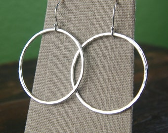 Large hammered circle earrings in sterling silver, hammered earrings, hammered ring, sterling silver ring, hammered circles, texture