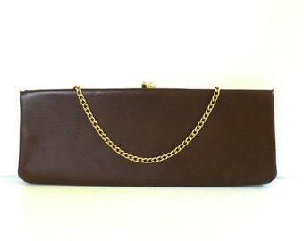 Vintage Brown Clutch with Gold Chain