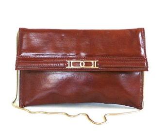 Vintage Brown Envelope Clutch by Mary Ann Rosenfeld