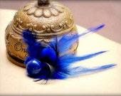 Something Royal Blue & Black Hair Clip / Comb Mini Head Fascinator. Wedding Day Engagement Feather Accessory. Feminine Girly Teen Bridesmaid