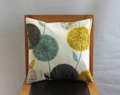 Pillow teal blue green mustard yellow dandelion blue grey gray black clock allium design One 18 inch cushion cover shams UK designer fabric