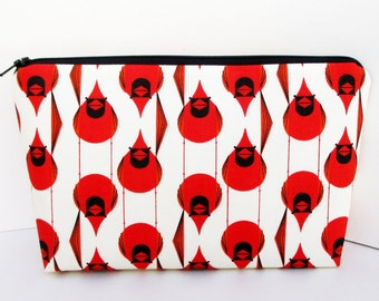 Make Up Cosmetic Zipper Pouch, Red Cardinals, Charley Harper Birds, Organic Fabric