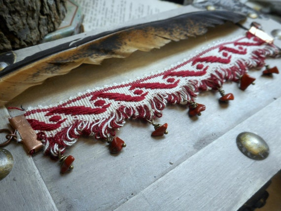 The Marrakesh Gypsy Cuff Bracelet. Vintage Red Swirl silk ribbon Trim and autumn Jasper ooak bracelet. Tribal Belly Dance Handmade Textile