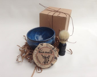 Men's Shaving Gift Set - Handmade Pottery and Soap with Brush and Gift Box