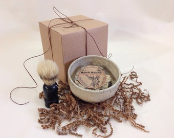 Men's Shaving Kit - Handmade Natural White Pottery and Soap with Brush
