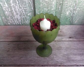 Vintage Green Glass Teardrop Compote - Planter - Bowl - Fresh Floral Arrangement Wedding - 074