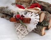 Rustic Christmas Hearts, Heart Ornaments, French County Hearts, Cinnamon Wicker Hearts, White Christmas Hearts, White Wicker Hearts