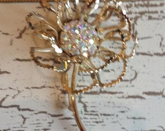 Large 3 dimensional Sarah Cov. flower brooch with aurora borealis rhinestones