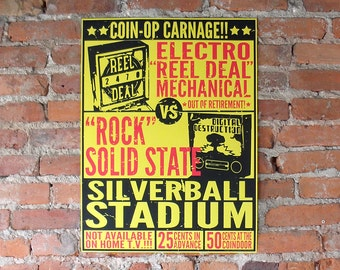 Pinball Poster - Coin-Op Carnage Classic Colors - EM v. SS Silverball Stadium 18x24