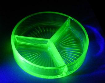 Green Uranium Glass Dish - 3 Part Divided Candy Dish, Trinket Dish or Flower Arranger