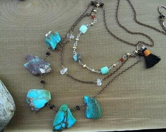 Bohemian Necklace, Multi Strand Boho Jasper Slice Necklace, Blue Gemstone Tribal Modern Statement Necklace, Chunky Bib Sundance Necklace