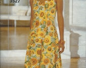"""1990's Butterick Pattern No. 3527 : Close Fitting Flared Dress with Shoulder Straps Bust  30 1/2 - 32 1/2"""""""