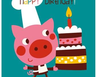 Happy Birthday - card & envelop - piggy