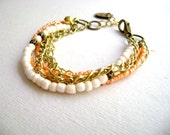 Bohemian style - Softly - romantic Boho style ivory peach multiple stacking stack chain bracelet