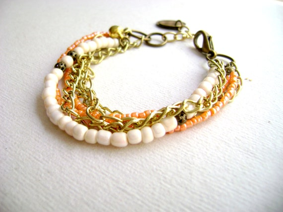 Bohemian style - Softly - romantic Boho style ivory peach multiple stacking stack chain bracelet