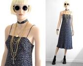 90s Floral Dress 90s Grunge Rayon Floral Dress Rayon Dress 90s Dress Floral Slip Dress Vintage 90s Clothing Black Floral Dress XS