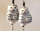 White with Black Striped Porcelain Kitty Cat Dangle Earrings