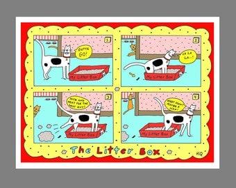 Cat Litter Box Card Black White Orange Tabby Cat Poop Kitty Litter