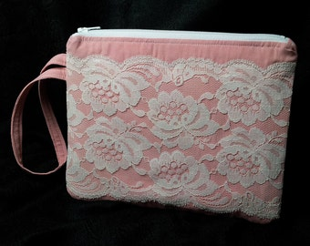 Zippered Wristlet with Vintage Lace Overlay Pink & White