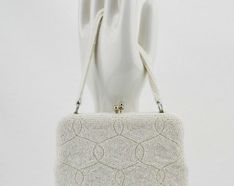 Vintage Ivory Delill Seed Pearl and Bugle Bead Purse Hand Made in Japan