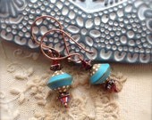 Turquoise Blue Earrings Polka Dot Rustic Elegance