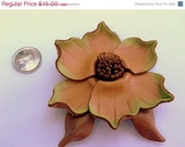 60% Off CLOSING FEB. 22 Leather Flower Brooch Pin, Vintage Leather Jewelry Jewellery Green and Rust