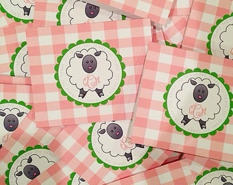 Gingham sheep folded notecards