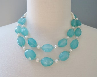 Double Strand Blue Chalcedony Nugget and White Freshwater Pearl Necklace