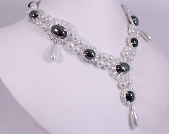 Hematite Lush Renaissance and Earring Set Tudor Game of Thrones Pearl Necklace Costume Jewelry