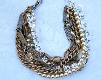 Mixed Metal Bracelet Rhinestone Multi Chain Bracelet Chunky Layered Chain Bracelet Industrial Silver Pearl Gold Vintage Chains Bracelet