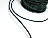 Twisted silk cord, 3mm, black satin cord, 4 meters